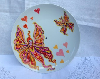 Two tiered vintage cake stand hand painted with fairies. Bone china.
