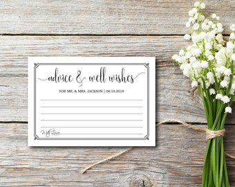 Advice & Well Wishes, Rustic, Kraft Letter, DIY Wedding Advice, Advice Card, Template, DIY Editable PDF, Printable Instant Download E75D