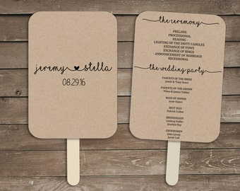 Wedding Program Fan Template Rustic