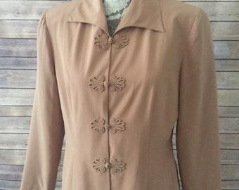 100% silk vintage Shomi blazer size 8 tan