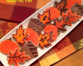 Fall Autumn Cookie Favors - Set of 6
