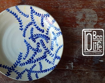 """Blue Leave Plate 8"""""""