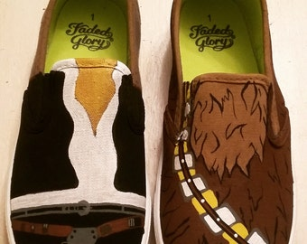 Chewbacca /han solo custom painted shoes