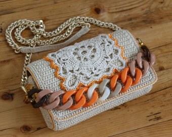 bag crochet macrame chain resins hand made