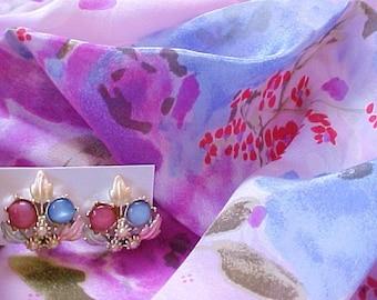 Vintage Silk Flower Scarf & Moonglow Earrings daisy pink purple blue