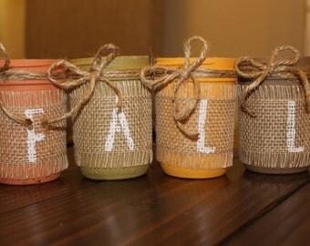 Fall mason jars, half pint