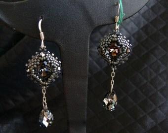 """Weaving earrings Swarovski """"silver night"""""""