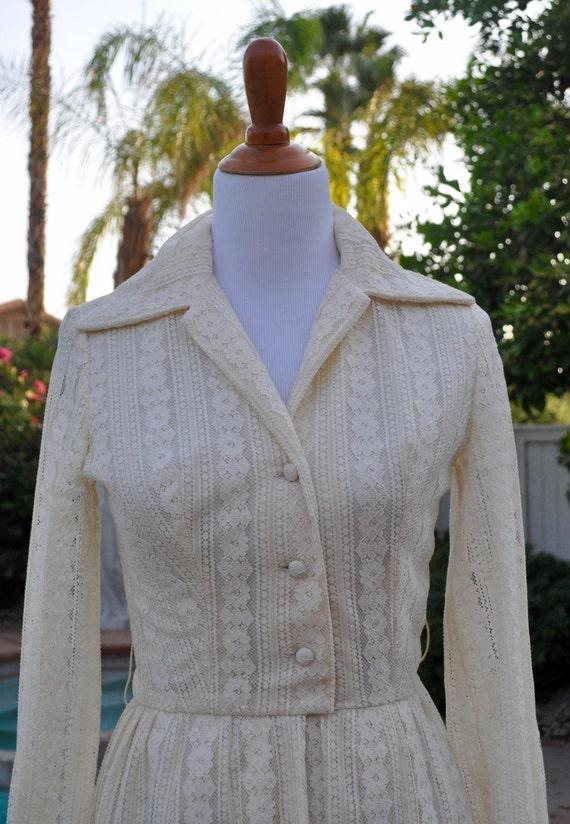 Vintage 1970s Ivory Colored Lined Lace Boho Maxi Dress by John California Sz S/M