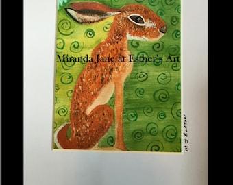 Oil Print, Rabbit, Hare