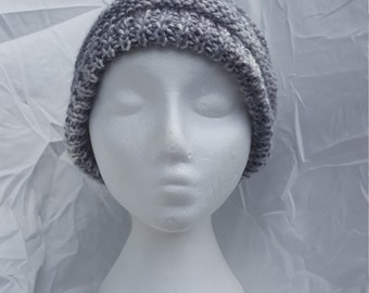 Grey knitted slouchy hat for men/Lady