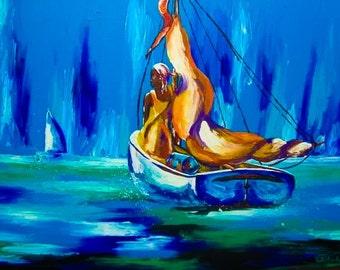 "Somewhere in the sea""original acrylic painting original art"