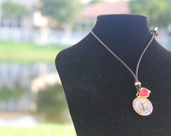 Leather Necklace with San Benito Pendant, Agatha Red Heart (Gold Plated), and Citrino Quartz (Prosperity Stone)