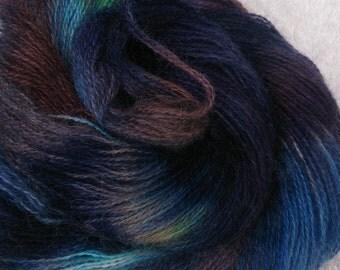 Hand dyed mohair, ' metal revolution', 4ply ,  sock yarn, 335m, 100g
