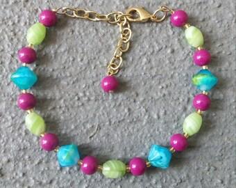 Pink Blue and Green Bracelet