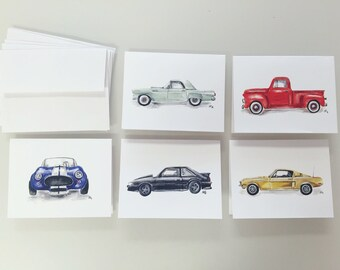 Watercolor cards(5)- vintage Fords