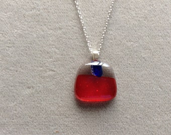 Red orange with blue accent