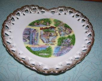 Vintage Heart shaped souvenir dish of Watkins Glen NY.