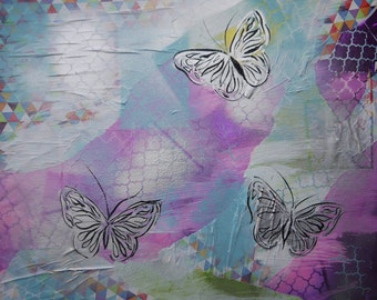 Mixed Media Pink Purple Blue Silver Yellow Butterflys