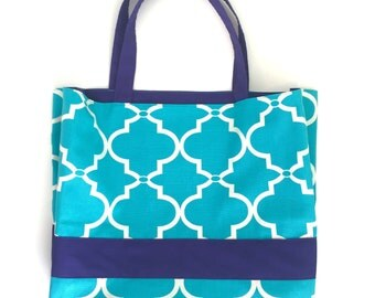 Turquoise Flexible Canvas Tote / Beach Bag with Indigo Accent Lining