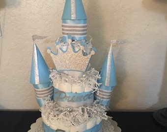 Diaper Cake  Castle boy or girl- made to order - any theme, any colors.