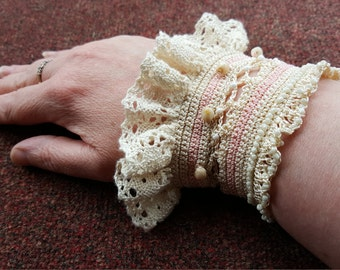 Handmade Crochet wrist cuff, with beads
