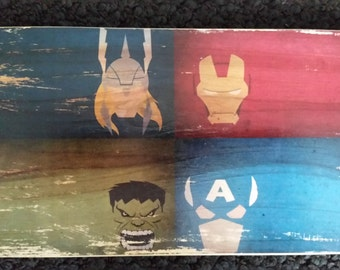 Avengers on piece of wood