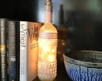 Wine Bottle Light: Hand Painted and Embellished