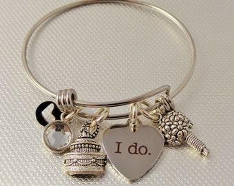 Bride's Bracelet, Bride's Gift, I Do Bangle Bracelet, Laurie's Bangles, Expandable bracelet, Stainless Steel, Charm bracelet