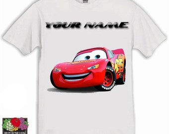 Cars Lightning Mcqueen Personalised Kids Tshirt Ages 1-13 Available