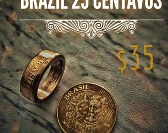 Brazil 25 Centavos Coin Ring