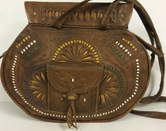 Vintage Leather Navajo Indian Boho Festival Style Saddle Bag, Whipstitch and Embossed Detail