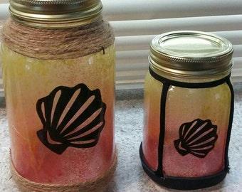 Mason Jar Lantern - Painted - Pint size    SKU - PPT9734
