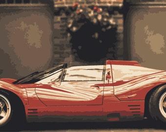 LARGE PRINT Ferrari S.p.A / Red Ferrari / Ferrari Art / Sports Car Art / Man Cave Art / Super Car Art / Top Gear
