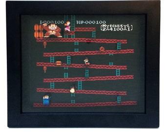 Donkey Kong Shadow Box - Nintendo NES Classic Video Game - 8x10 Frame - Geek Art - Wedding Favor - Groomsman Gift - Birthday Gift