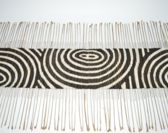 African Twigs and Beige and Dark Brown Mudcloth Table Runner