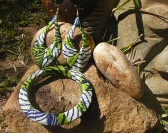 Green and White Statement Jewelry, African Jewelry Set, Earrings and Bangle