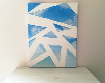 Blue Sky Breeze: Geometric Skyscape Acrylic Painting on Canvas