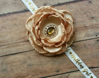 Gold Birthday girl headband - birthday headband - gold birthday baby headband - birthday girl headband - woman accessory  - baby headband