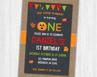Halloween Birthday Invites, Baby's first Birthday invitation, Birthday Party Invitations, Halloween Invitations