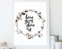 How Great Thou Art Printable, Typographic Print, Christian Wall Art, Wall Quote, Art Print, Hymn Print, Encouraging Wall Art, Song Lyrics