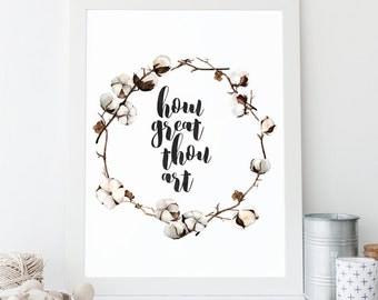How Great Thou Art Printable, Typographic Print, Christian Wall Art, Wall Quote, Art Print, Hymn Print, Encouraging Wall Art, Song Lyrics
