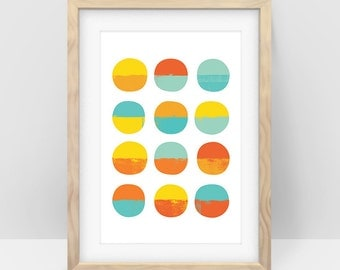 Circle Seascapes – Wall Art Printable, Home Decor, Modern Art
