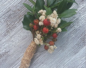 Winter Wedding Boutonniere, Rustic Winter Boutonniere
