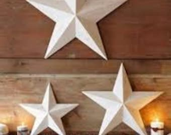 "Set of 3 Large Metal Tin Barn Star - Wall Decor - 24"", 16"" & 11"""