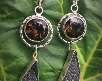 Smoky Quartz, Druzy Quartz & Sterling Silver Earrings