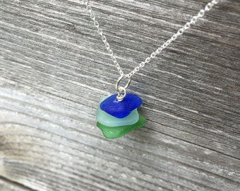 Stacked Sterling Silver Sea Glass Necklace