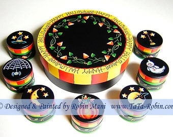 232 Candy Corn Vines Trinket Boxes Decorative Painting Pattern