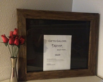 """16""""x20"""" wood frame with glass, rustic wood frame"""