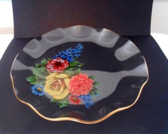 1960s Chance Glass Serving Dish, Floral Pattern
