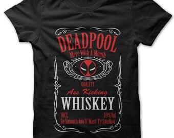 Deadpool Whiskey Black T-Shirt